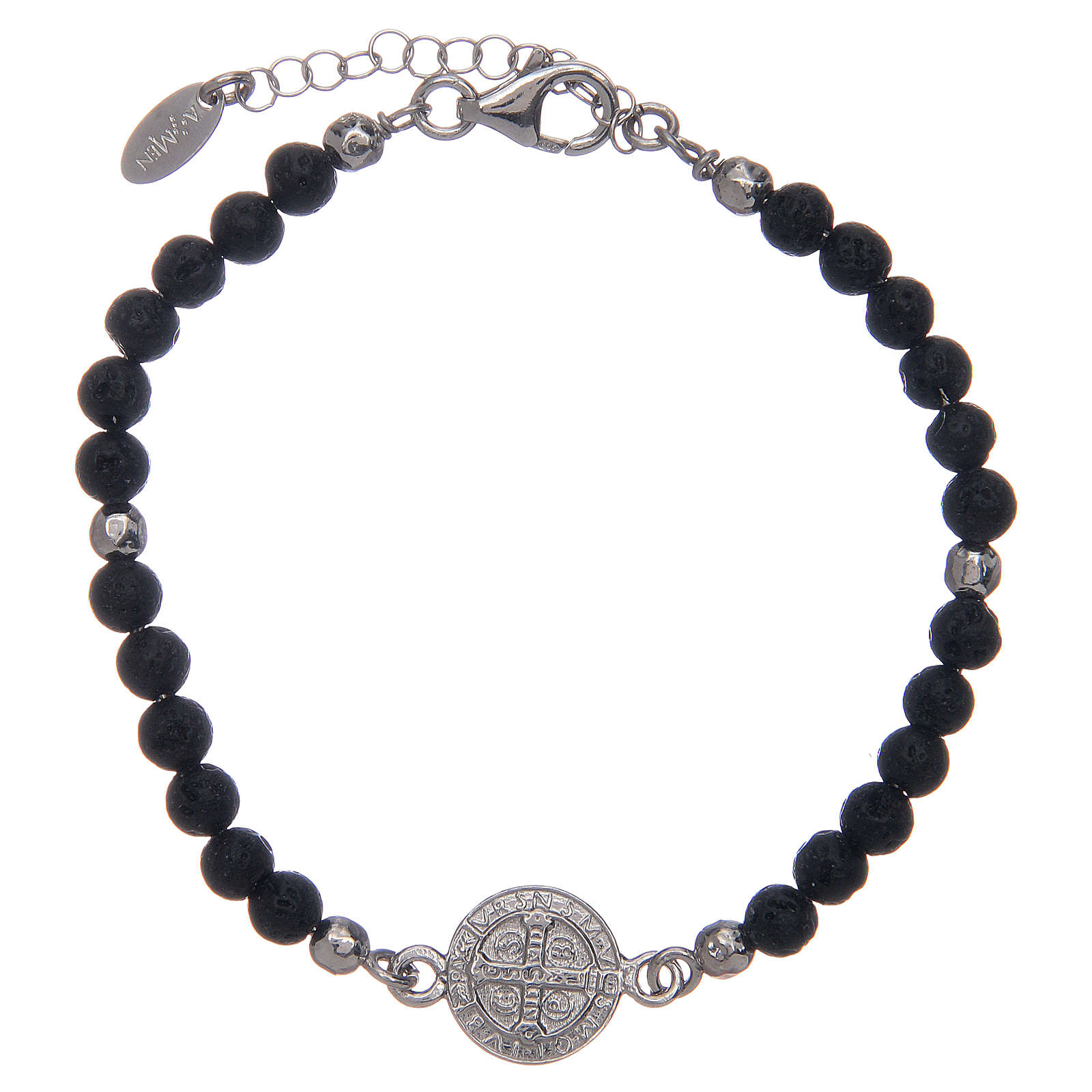 Saint Benedict medal bracelet with lava stone beads 4