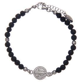 Saint Benedict medal bracelet with lava stone beads s1