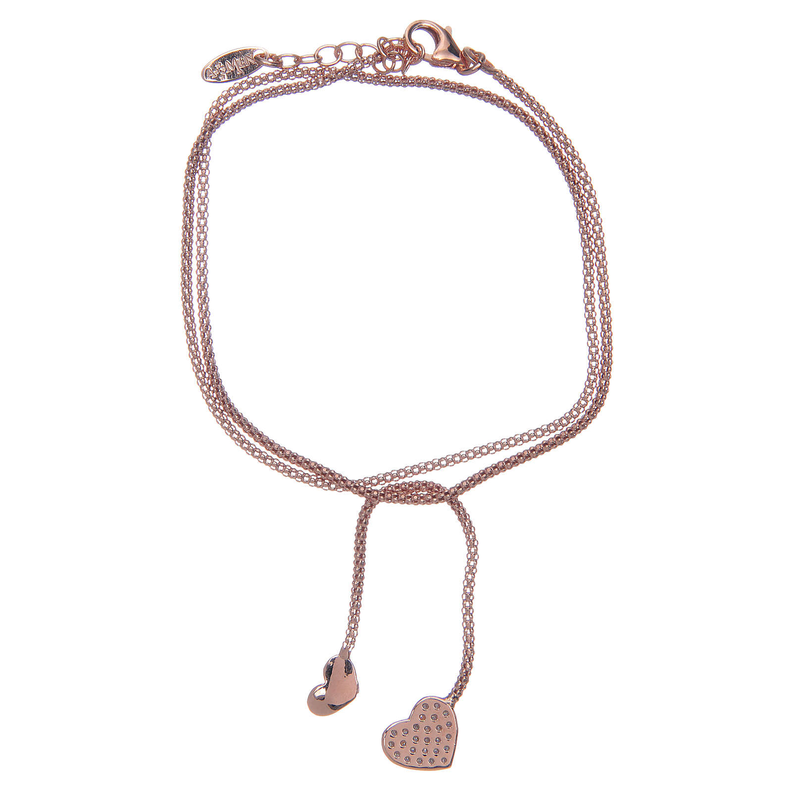 Amen bracelet in 925 sterling silver with rosè hearts 4