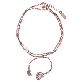 Amen bracelet in 925 sterling silver with rosè hearts s1