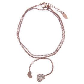 AMEN bracelets: Amen bracelet in 925 sterling silver with rosè hearts