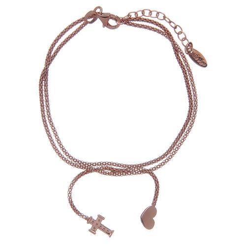 Bracciale Amen Argento 925 rosé cuore croce 2