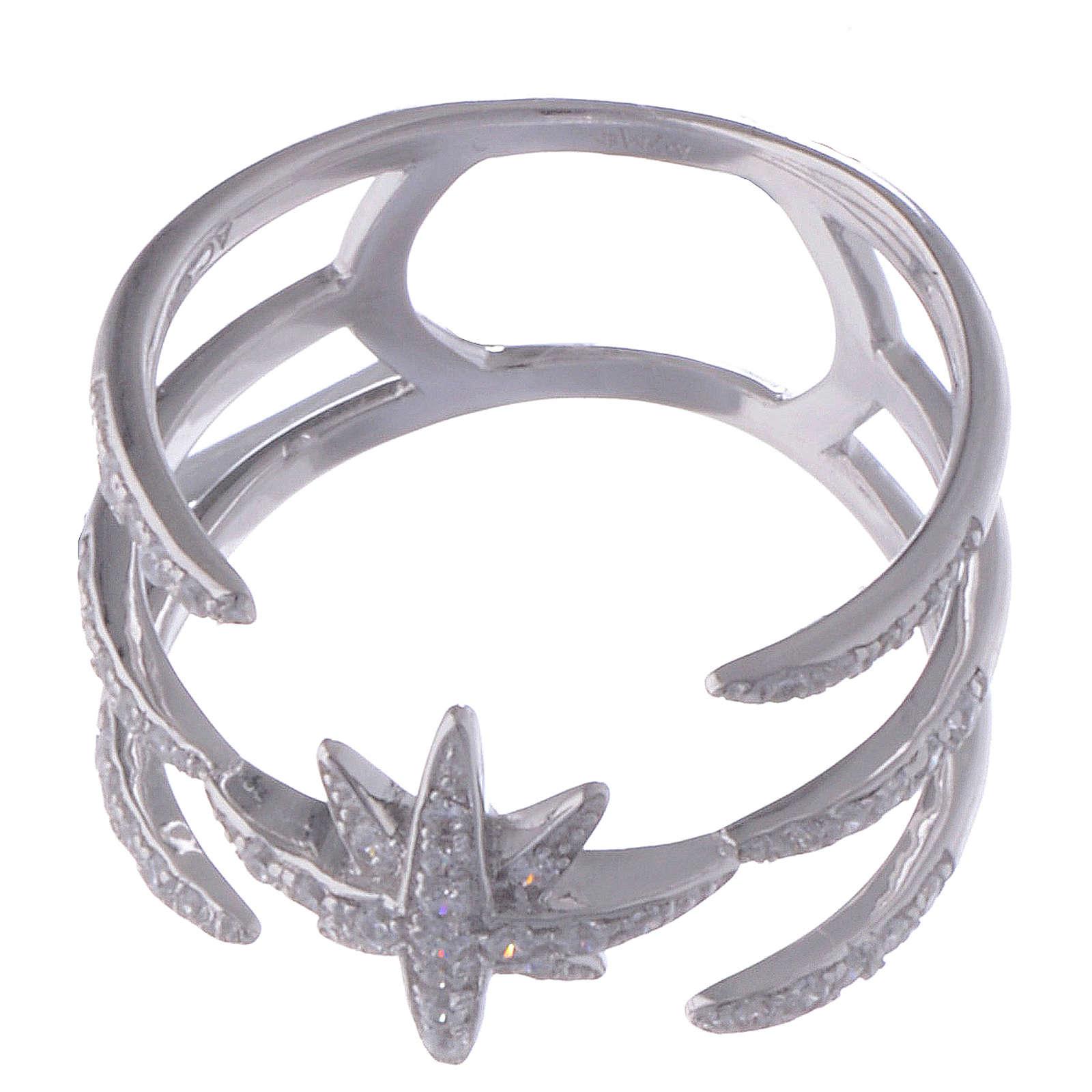 Anello Amen in Argento 925 e zirconi bianchi croce del sud 3