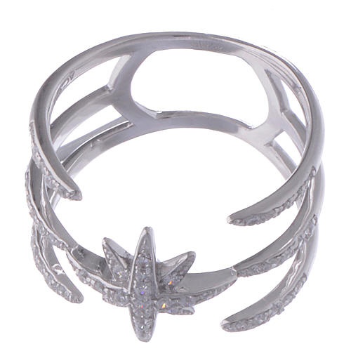Anello Amen in Argento 925 e zirconi bianchi croce del sud 2