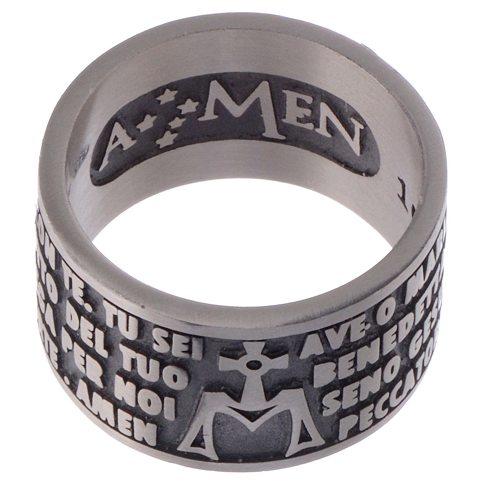 Anello Amen incisione Ave Maria argento 925 3