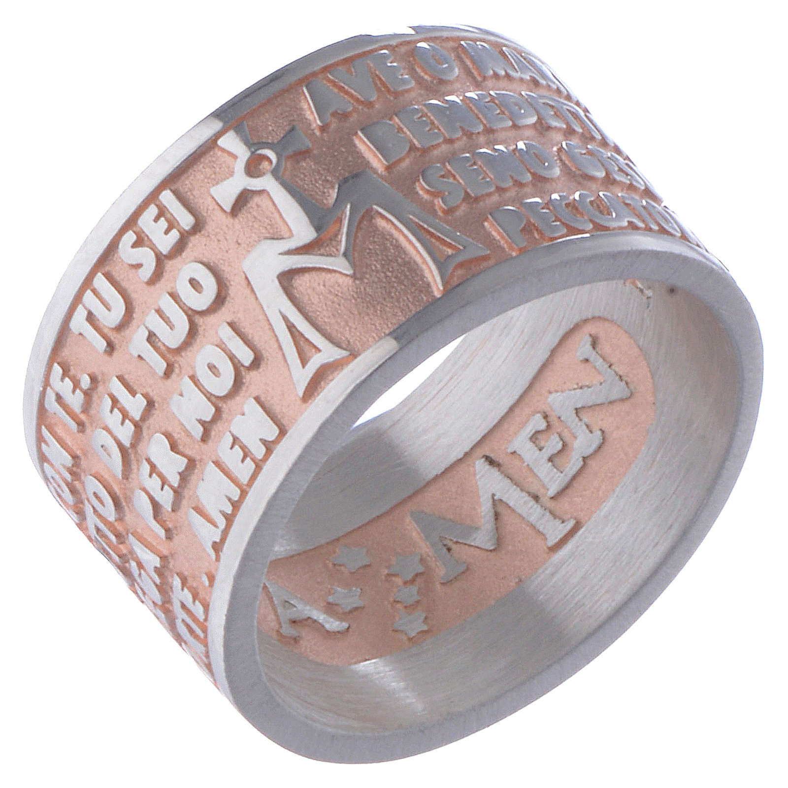 Hail Mary prayer ring in silver rosé AMEN 3