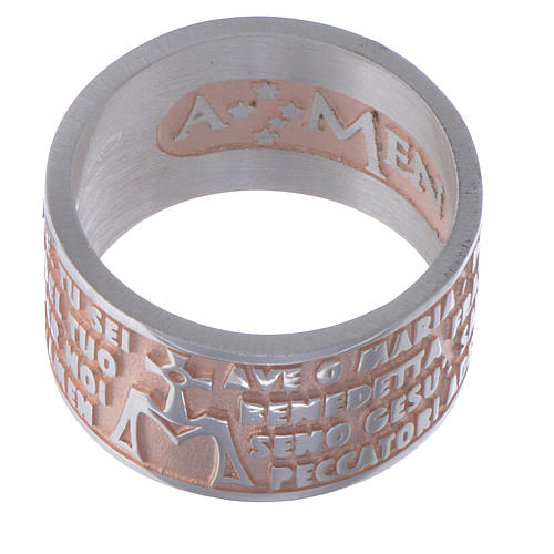 Hail Mary prayer ring in silver rosé AMEN 2
