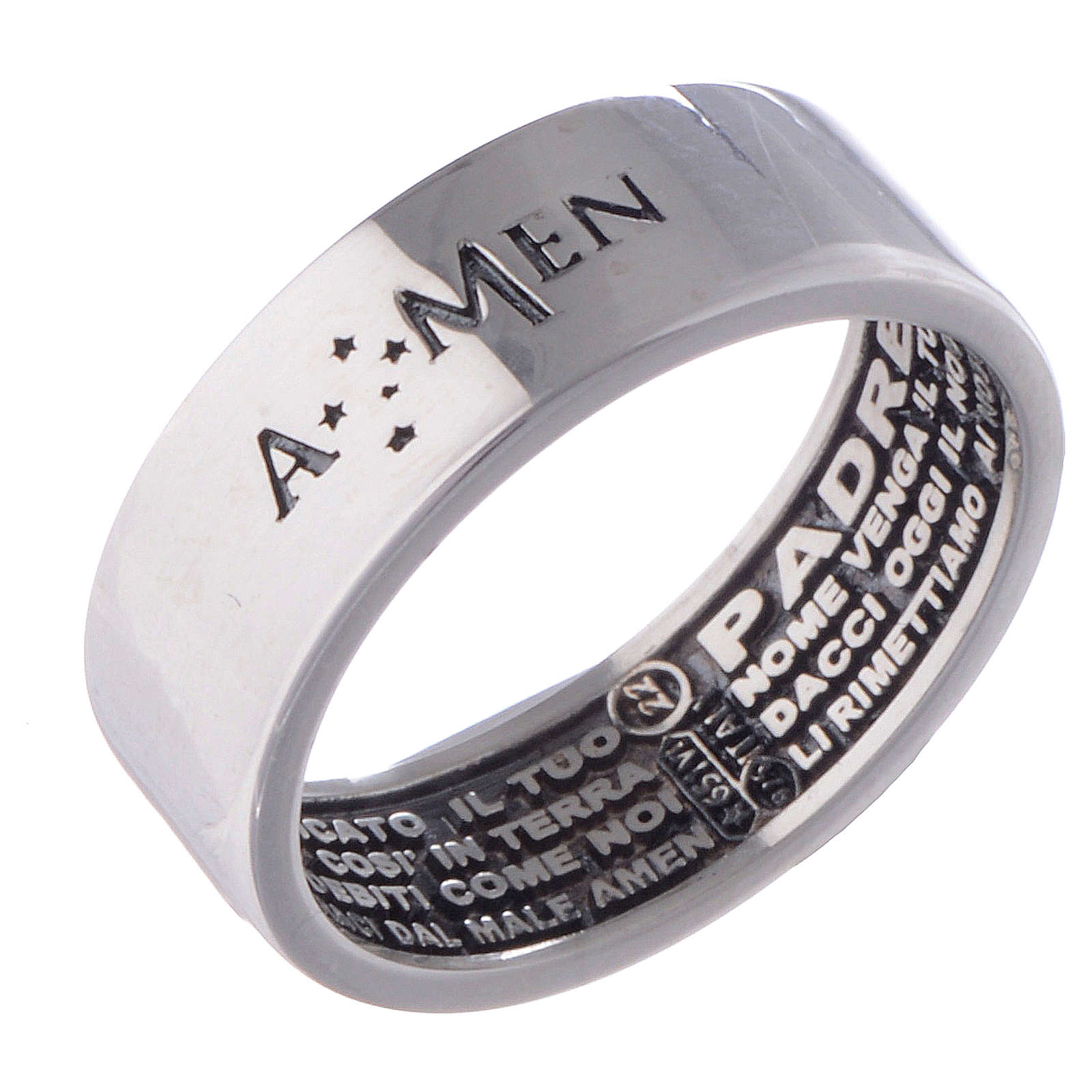 Prayer ring Our Father silver internal engraving in Italian AMEN 3