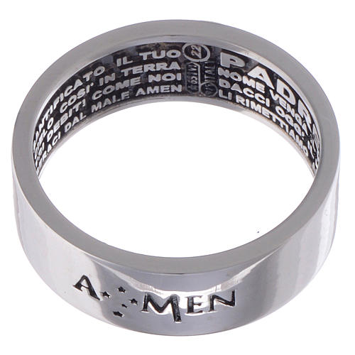 Prayer ring Our Father silver internal engraving in Italian AMEN 2