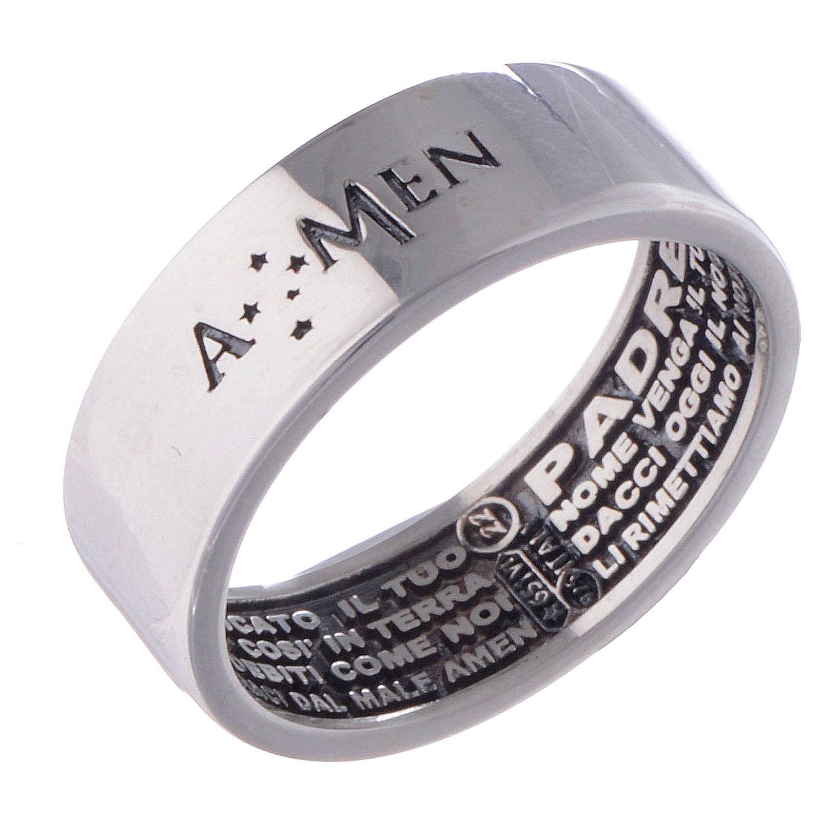 Bague Amen argent Notre Père incision interne 3