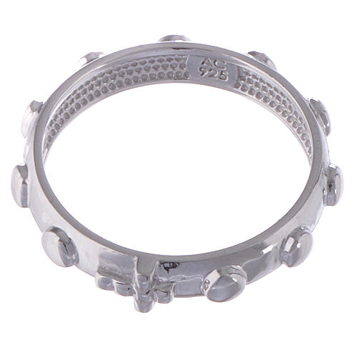 Rosary ring AMEN silver polished 2