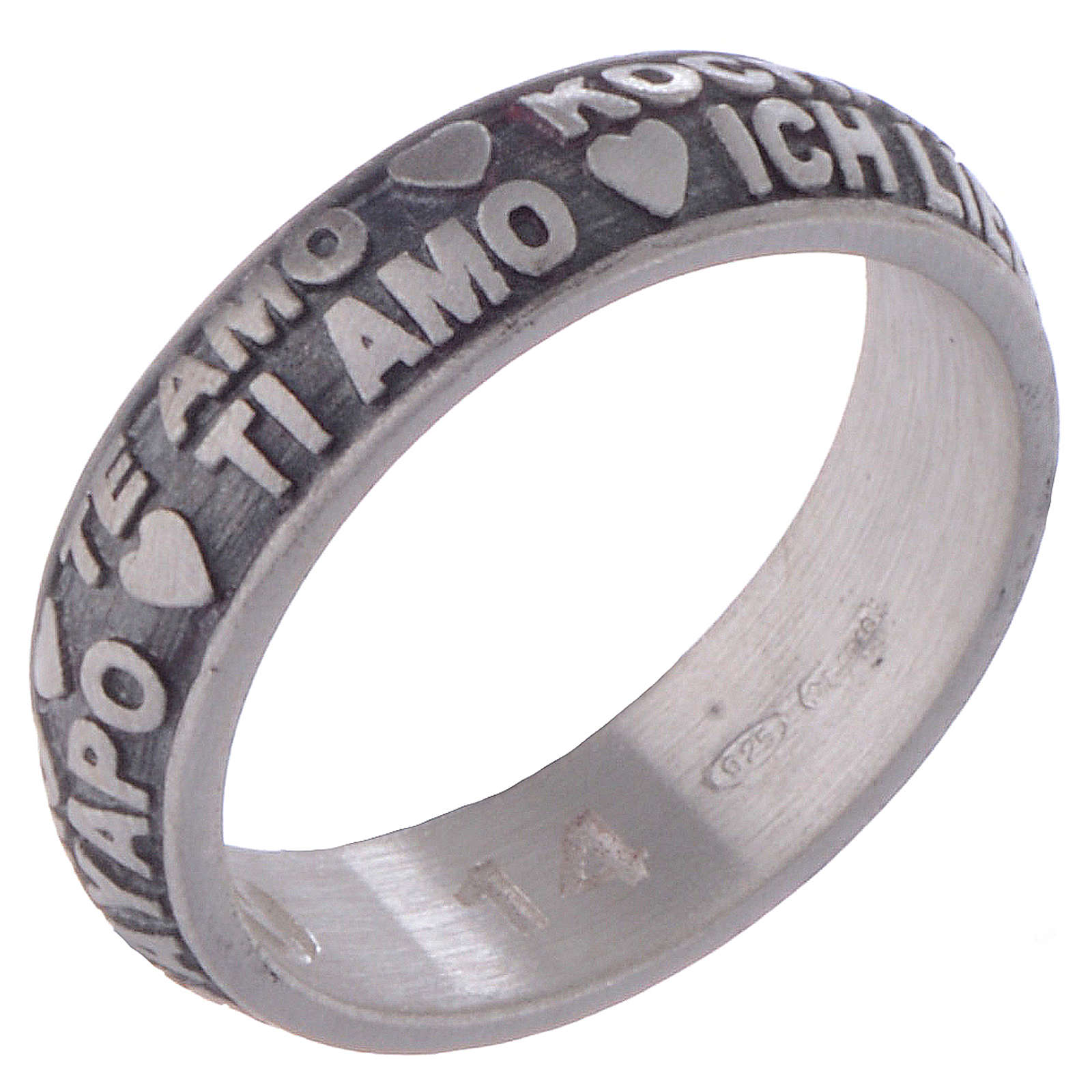 I Love You ring in burnished sterling silver AMEN 3
