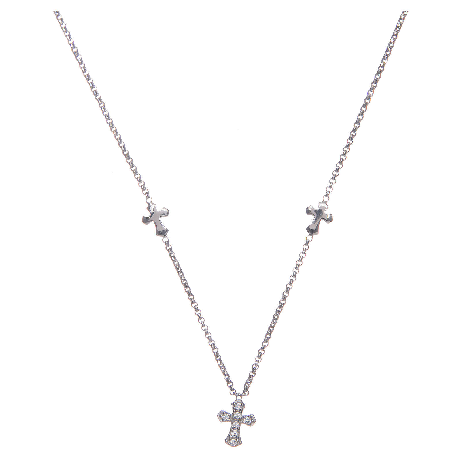 Amen necklace in 925 sterling silver finished in rhodium with crosses 4