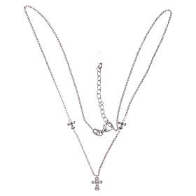 Amen necklace in 925 sterling silver finished in rhodium with crosses s3