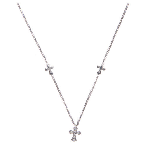 Amen necklace in 925 sterling silver finished in rhodium with crosses 1
