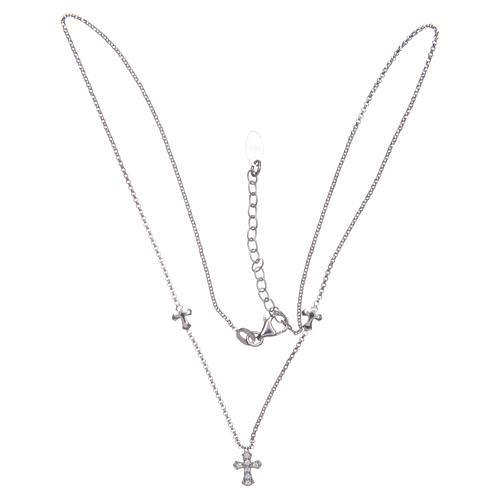 Amen necklace in 925 sterling silver finished in rhodium with crosses 3