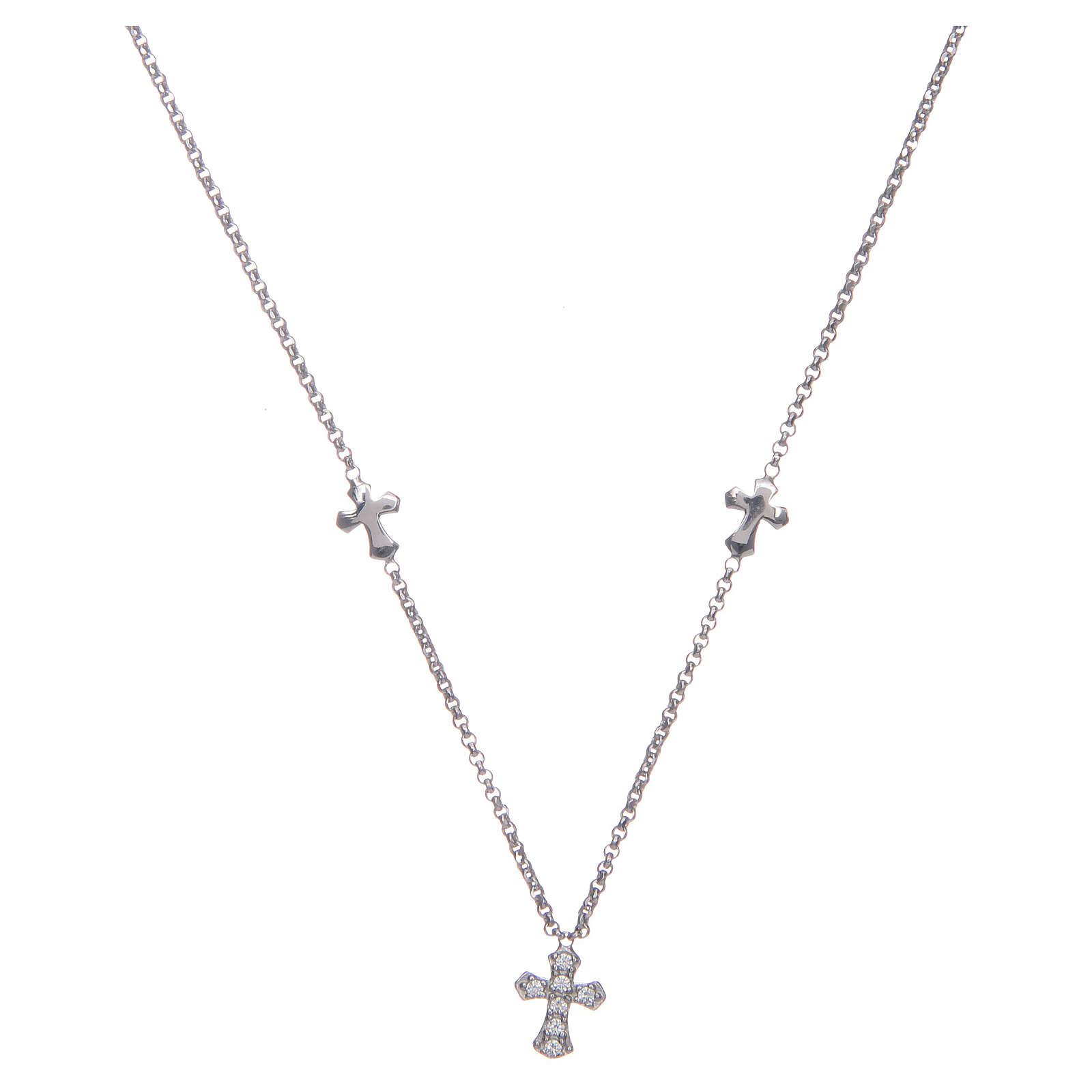 Naszyjnik Amen Krzyże srebro 925 rodowane 4