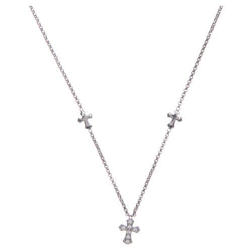 Naszyjnik Amen Krzyże srebro 925 rodowane 1