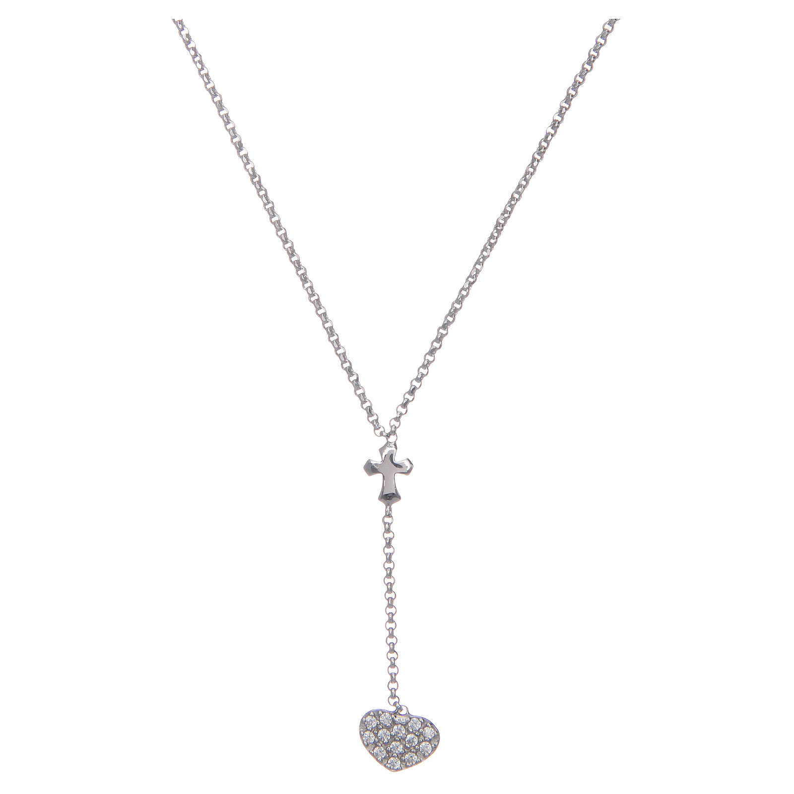 Amen necklace in silver with heart and cross 4