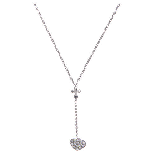 Amen necklace in silver with heart and cross 1