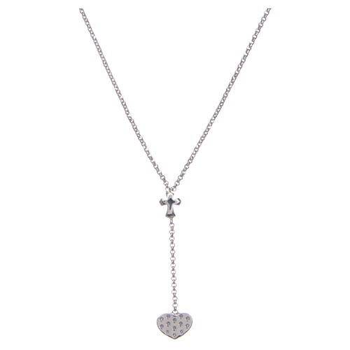 Amen necklace in silver with heart and cross 2