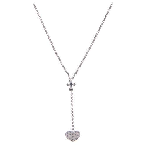 Collana Amen Argento cuore e croce 2