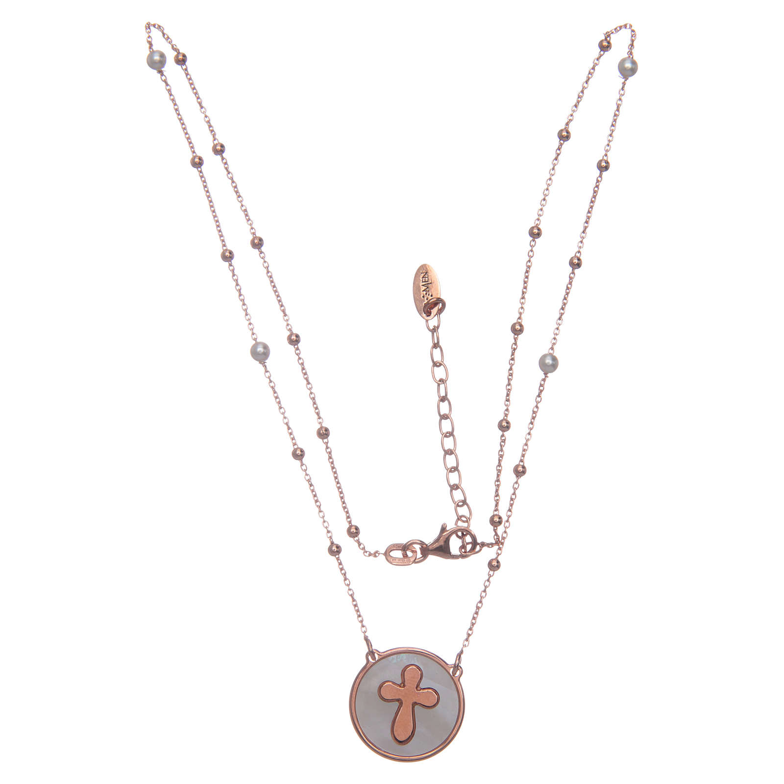 Collier Amen avec croix nacre et argent rosé 4