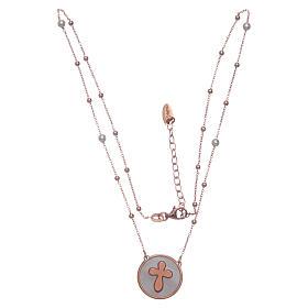 Collier Amen avec croix nacre et argent rosé s3