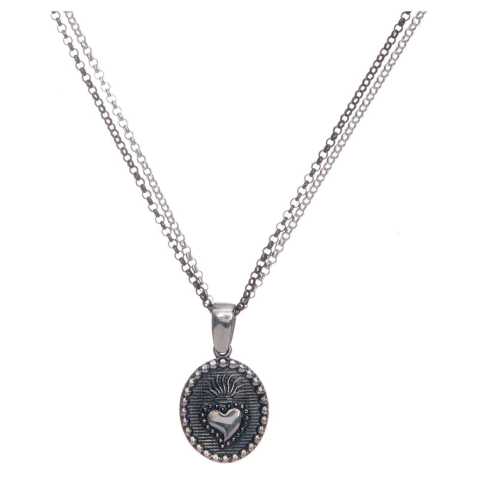 Amen necklace with Sacred Heart pendant in silver 4