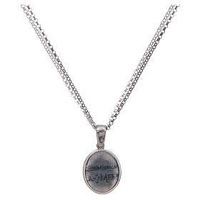 Amen necklace with Sacred Heart pendant in silver s2