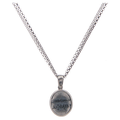Amen necklace with Sacred Heart pendant in silver 2