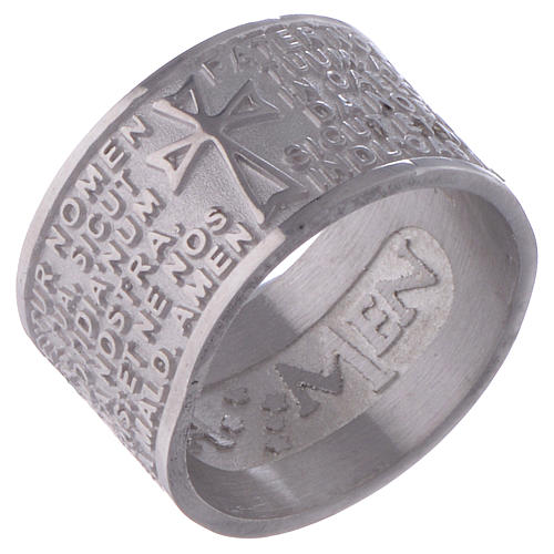 Prayer ring Pater Noster in Latin silver AMEN 1