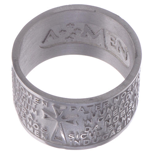 Prayer ring Pater Noster in Latin silver AMEN 2