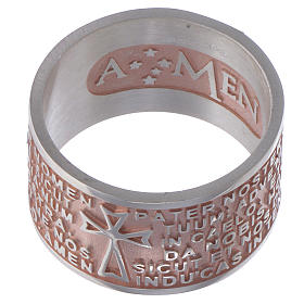 Anillo Amen Padre Nuestro Latín Plata 925 rosada s2