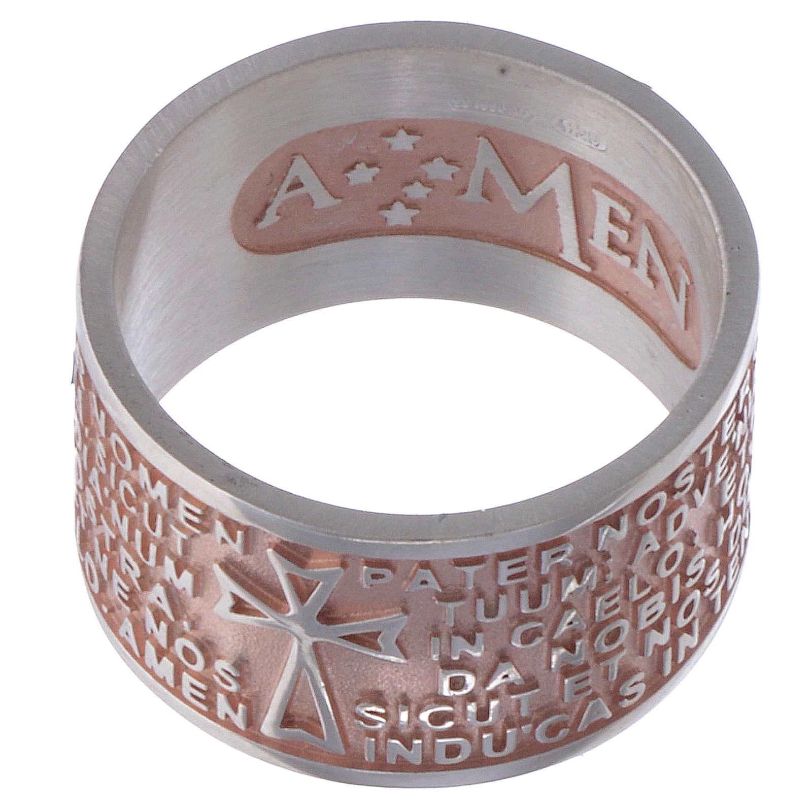 Bague Amen Notre Père latin argent rosé 3