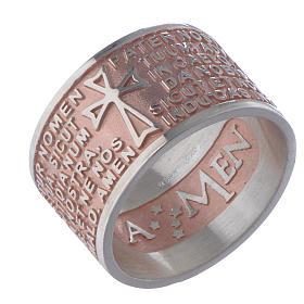 Bague Amen Notre Père latin argent rosé s1