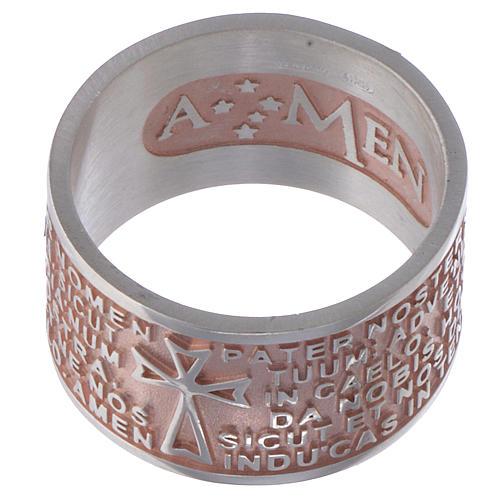 Bague Amen Notre Père latin argent rosé 2