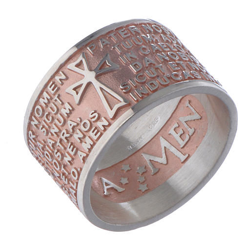 Prayer ring Pater Noster in Latin silver rosé AMEN 1