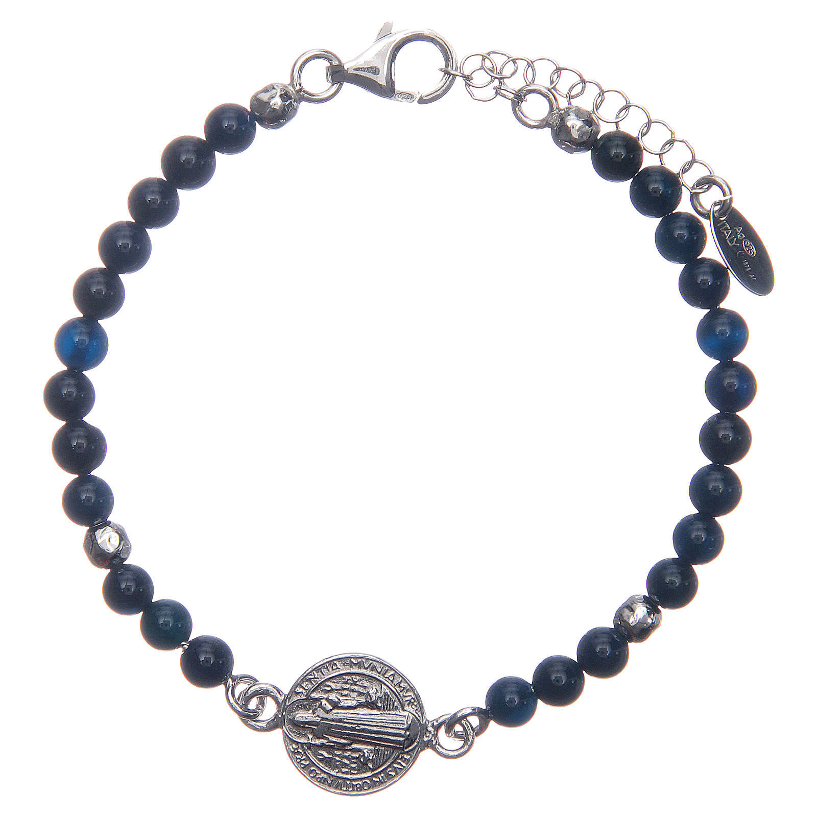 Saint Benedict medal bracelet with blue agate beads 4