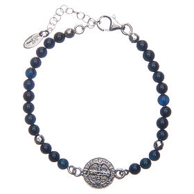 Saint Benedict medal bracelet with blue agate beads s2