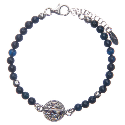 Saint Benedict medal bracelet with blue agate beads 1