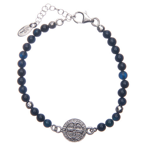 Saint Benedict medal bracelet with blue agate beads 2