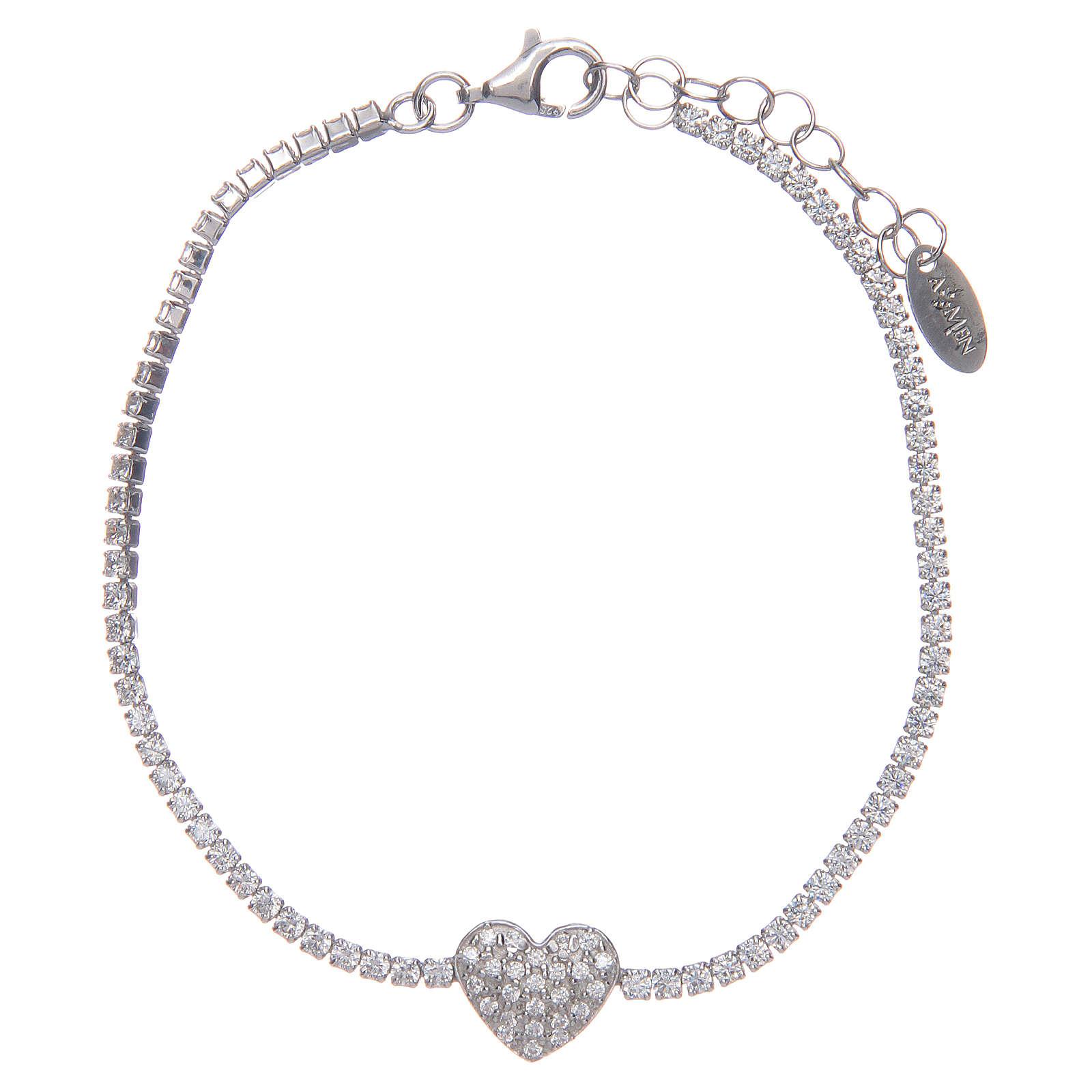Tennis bracelet with heart of zircons, Amen 4