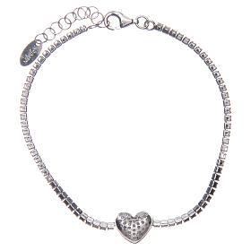 Tennis bracelet with heart of zircons, Amen s2