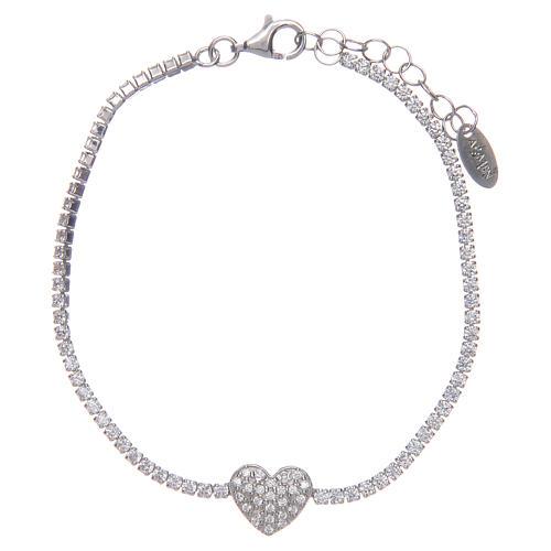 Tennis bracelet with heart of zircons, Amen 1