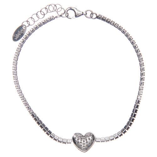 Tennis bracelet with heart of zircons, Amen 2
