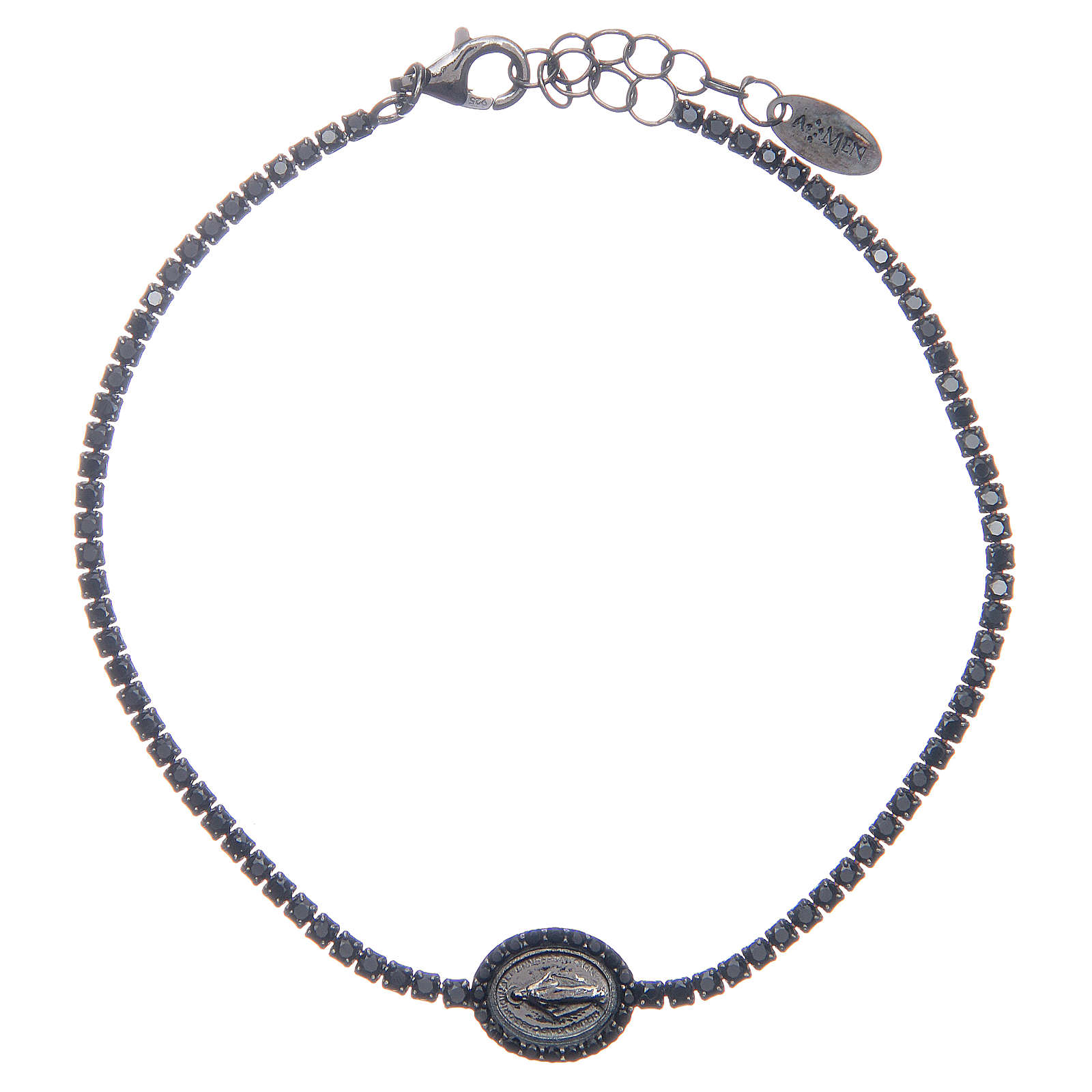 Amen tennis bracelet with black zircons and Miraculous medal 4