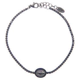 Amen tennis bracelet with black zircons and Miraculous medal s1