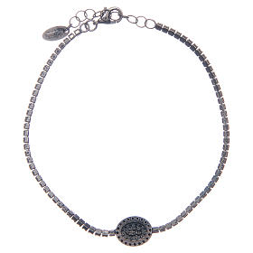 Amen tennis bracelet with black zircons and Miraculous medal s2