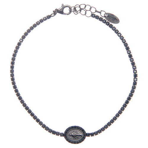 Amen tennis bracelet with black zircons and Miraculous medal 1